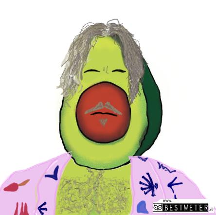avocoleman sweeney avocado met roze badjas grijs haar en stoppelbaardje