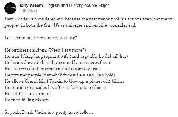 Darth Vader evil