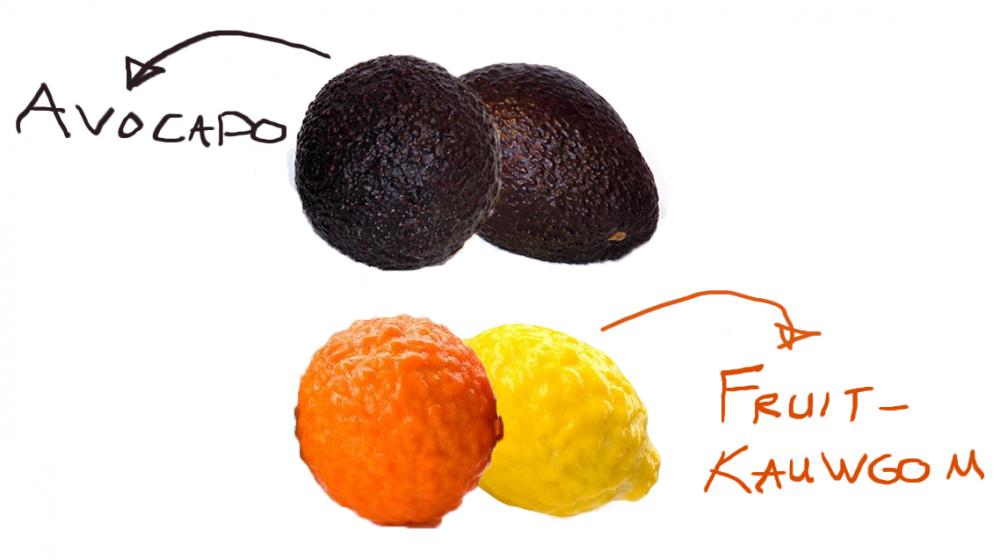 avocado lijkt fruitkauwgom