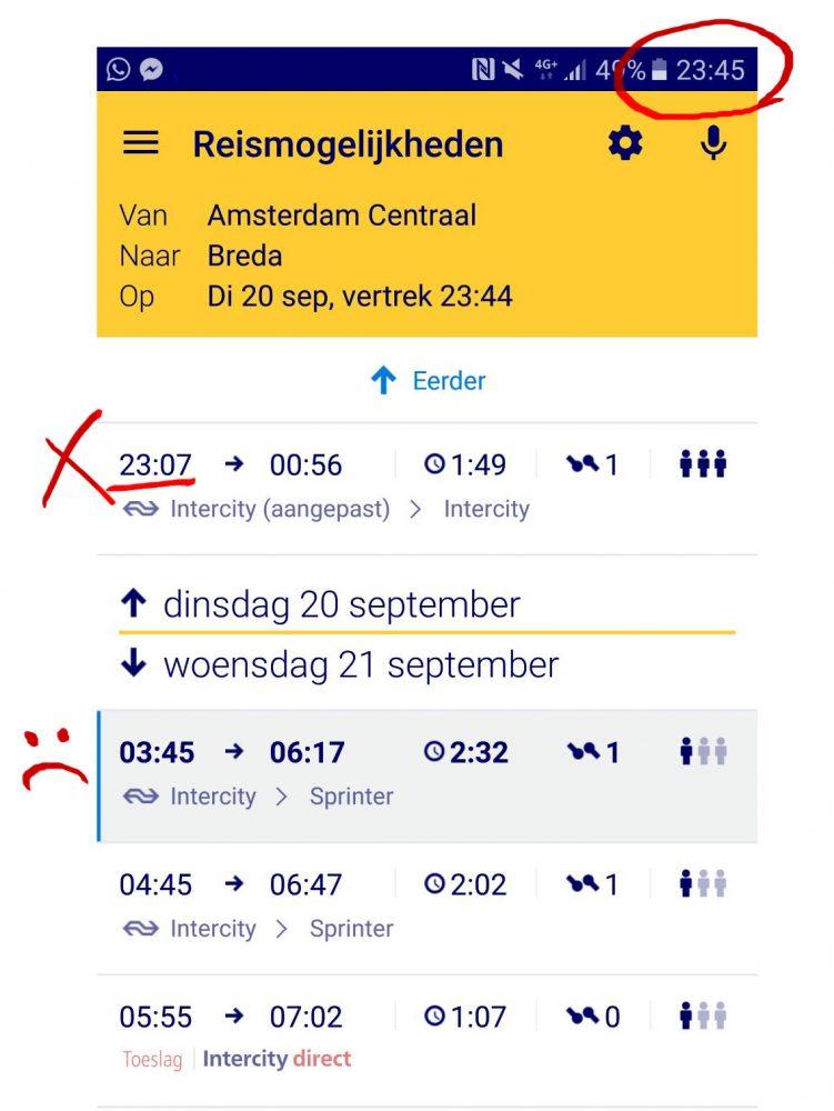 Bestweter NS trein gemist treinleven reisplanner Amsterdam Breda