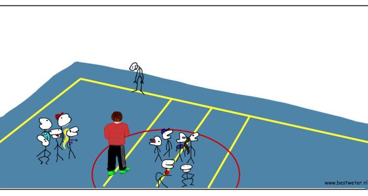 Bestweter blauwe gymzaal getekend getekende gymzaal strip gymles kinderen