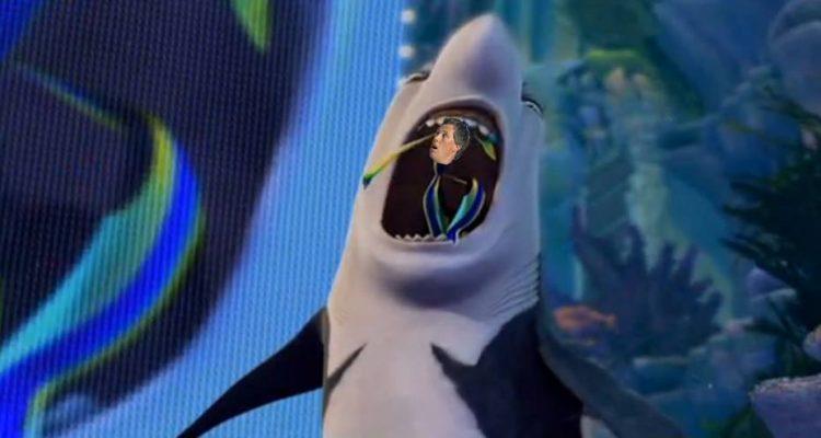 Freek Vonk in bek haai