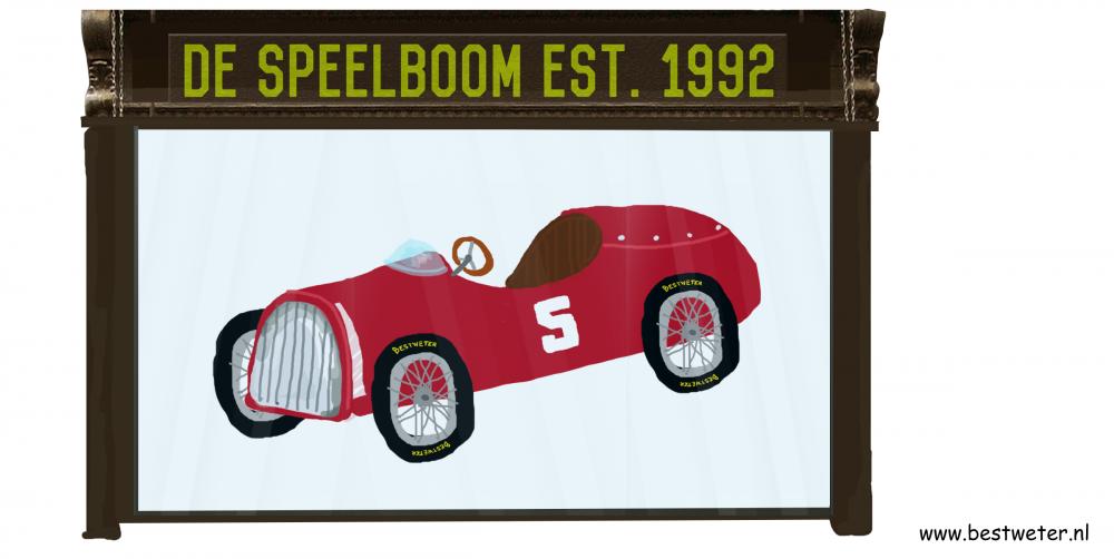 Rode trapauto in etalage speelgoedwinkel vintage Bestweter