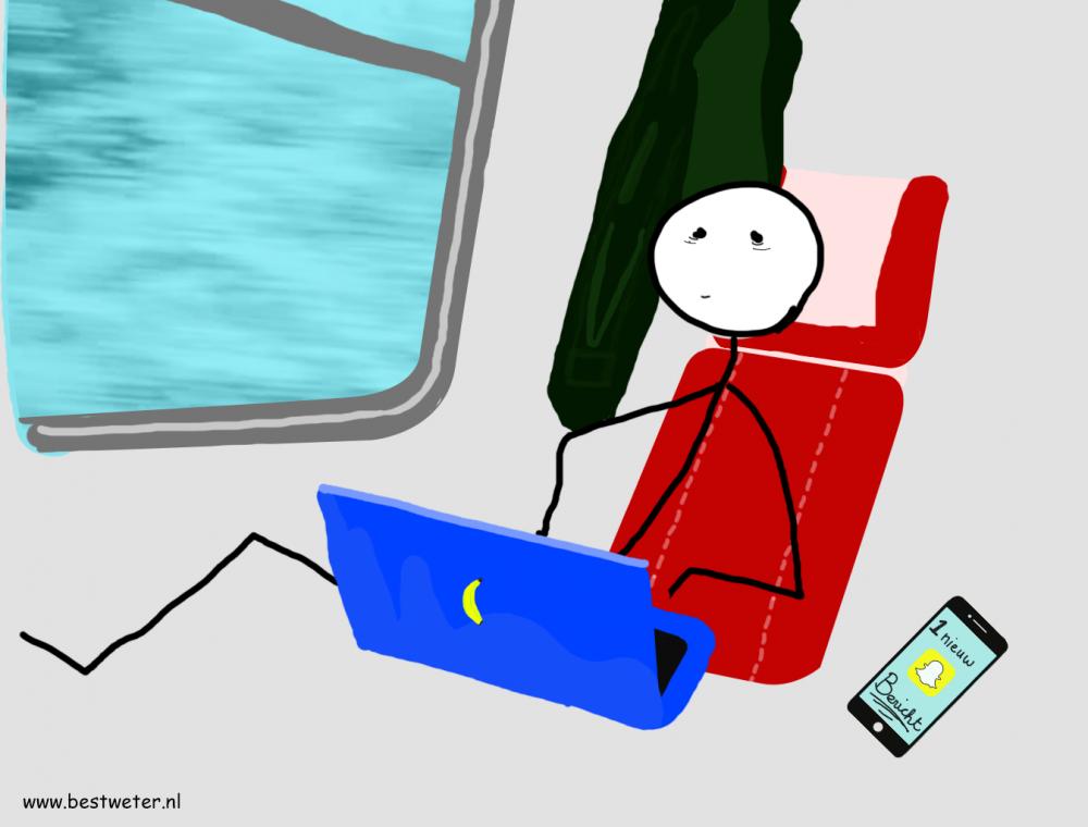 in trein met laptop op schoot getekend - Bestweter
