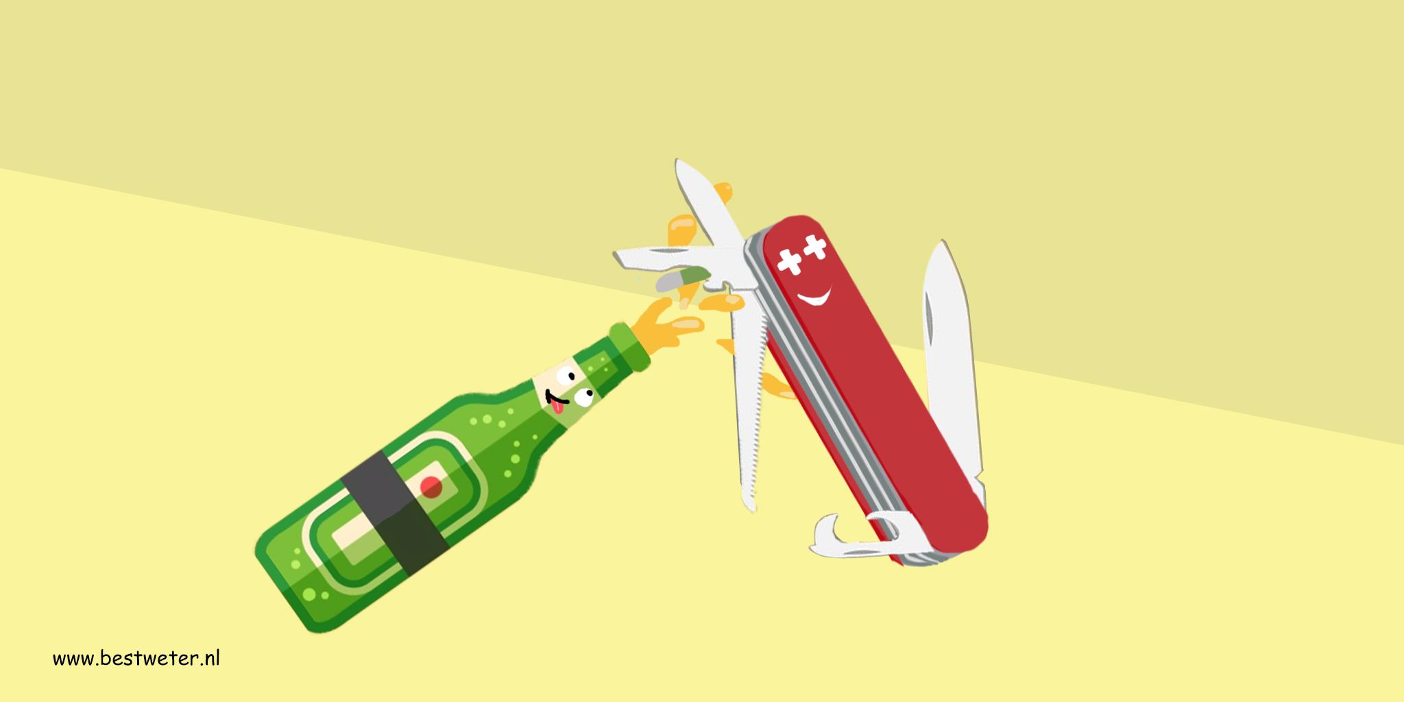 Zwitsers zakmes opent biertje getekend - Bestweter